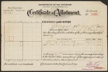 Certificate of Allotment to Anna P. Ross