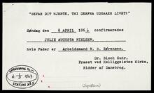 Photocopy of Julie Augusta Nielsen's certificate of conformation with transcript documents