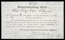 "Photocopy of Olaf Borge Carl Seltzer's ""Certificate of Vaccination"" with transcript documents"