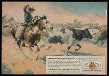 "Gulf Petroleum advertisement featuring ""Old-time Longhorn Roundup"""