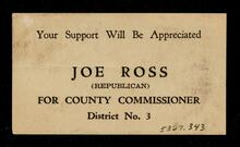 Campaign card - Joe Ross for County Commissioner District 3