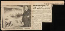 "Newspaper clipping ""Artist charges CIO with painting smear"