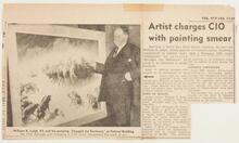 """Newark Star clipping with photo of Leigh and his painting """"Struggle for Existence"""""""