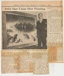 """Newark Evening News article with photo of Leigh and his canvas """"Struggle for Existence"""""""