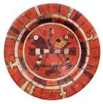 Polychrome painted ceramic plate with double ear of corn designs