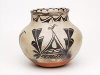 Polychrome ceramic bottle