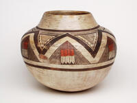 Ceramic olla jar with combination of eagle tail and geometric painted designs