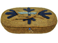 Coiled basket with braided handles and florally beaded lid