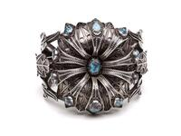 Silver floral-shaped cuff bracelet with turquoise insets