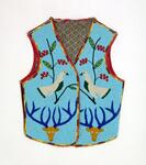Cloth lined vest with beaded animal and floral designs