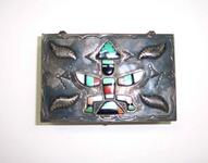 Hand-tooled silver cigarette box with a sun kachina figure inlaid on top