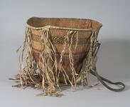 Burden basket with geometric design and leather strap