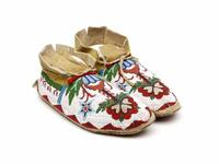Moccasins with Beaded Floral Designs