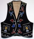 Navy blue cotton vest with beaded floral and thunderbird designs