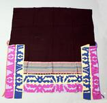 Osage blanket made of ribbon and wool with silver sequins and stripped ribbon work