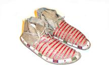 Beaded and quilled leather moccasins