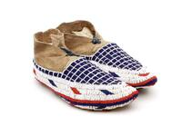 Beaded leather moccasins with grid designs