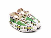 Men's beaded leather moccasins with geometric designs and fully beaded soles