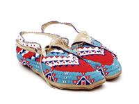 Beaded leather moccasins with geometric designs and split tongue with metal cone tassels