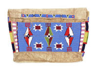 Leather possible bag with beaded front and side panels and beaded flap