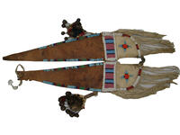 Woman's horse crupper decorated with leather, beads, and spoons