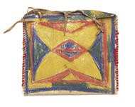 Flat case parfleche with geometric designs on the front