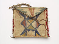 Hide container with geometric designs on the front