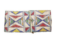 Parfleche envelope with geometric designs on the front