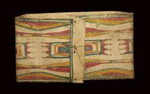 Envelope parfleche with geometric designs on the front