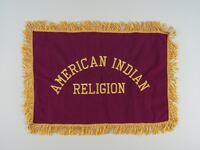 Maroon suede altar cloth with navy backed taffeta and gold embroidery
