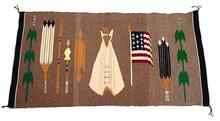 Pictorial rug with Native American Church designs