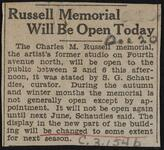 Russell Memorial Will Be Open Today