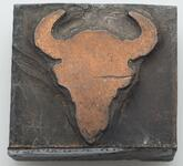 Printing block with a buffalo skull