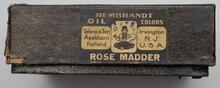 Black box containing three tubes of paint used by Charles M. Russell