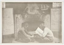 Two men seated in front of Bull Head Lodge carved fireplace