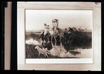 Indians Crossing River on Horseback