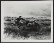 Man Chasing Calf