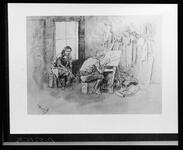Negative of a watercolor depicting a man painting at easel