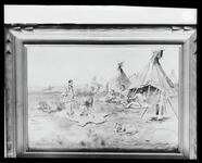 Negative for a painting of an Indian village scene