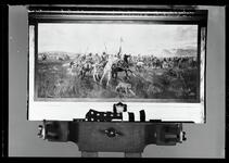Negative of a painting depicting a large group of Indian men and women on horseback