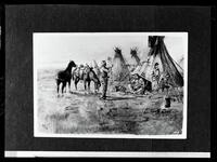 Negative of a painting depicting a cowboy with two horses in an Indian village