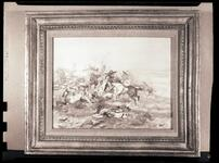Negative of a painting of several Indian men on horseback fighting on the plains