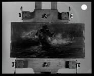 Negative showing the painting of a ship on rough seas