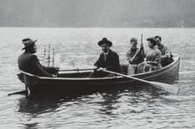 Charles M. Russell and Four Others in a Boat