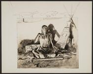 Seated Native American Man in Tipi