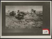Native Americans and Cowboys Hunting Buffalo
