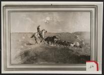 Cowboy with Wagon Train