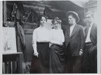 Charles M. Russell and Nancy C. Russell with Others in Studio