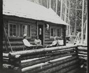 Charles M. Russell, Josephine Trigg, and Nancy C. Russell on Porch