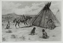 Indians and Horse near Tipi